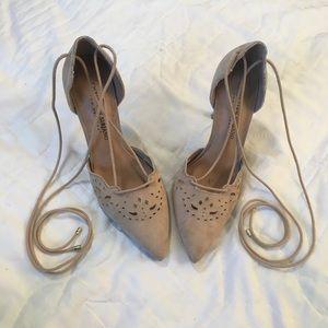Christian Siriano Tan Lace-Up Heels